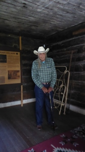 Howard, Crow elder and Historian, telling visitors about Chief Plenty Coups